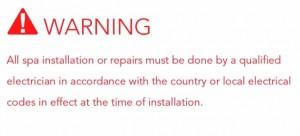 Warning Hot Tub Service