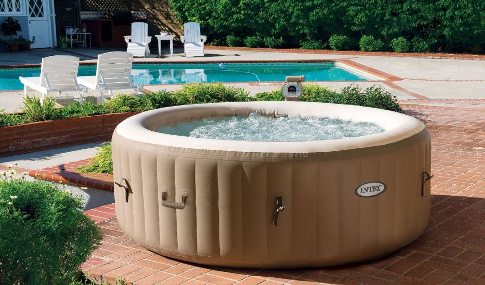Intex Inflatable Hot Tub by Pool