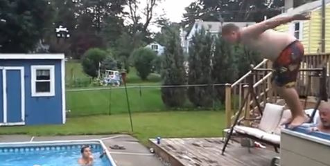 Dive from hot tub to pool